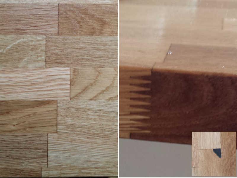 Stavlimet plade i eg, stave i bordplade / forbandt, fingersamling og sorte pletter i hjørner af nogle stave