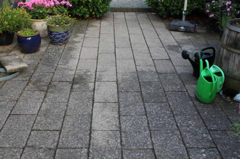 Betonfliser som aldrig er renset for flisepest - stor forskel
