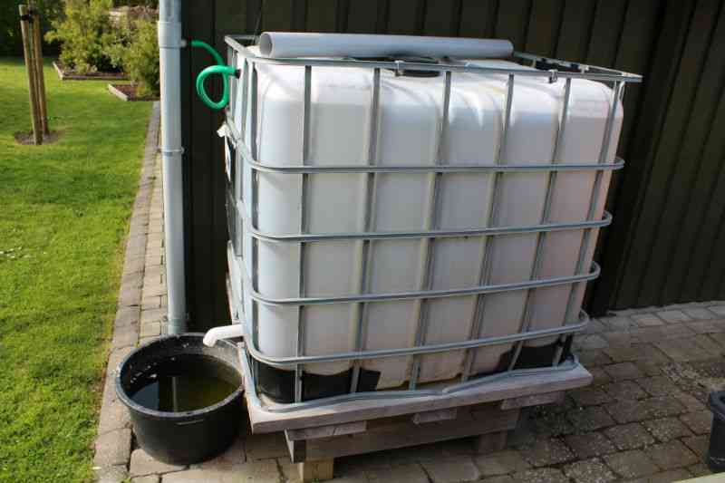 Palletank i stedet for regnvandstønde til opsamling af regnvand